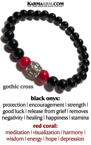 Gothic Punk Cross yoga beaded bracelet. Chakra reiki healing energy mantra meditation jewelry. Red Coral Black Onyx Mens Bracelet.
