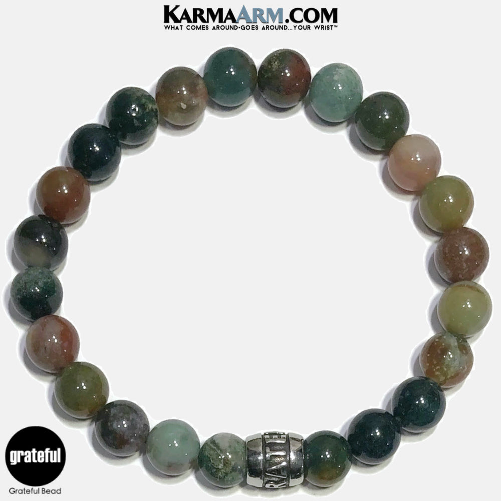 Grateful Meditation Mantra Yoga Bracelets. Self-Care Wellness Wristband Jewelry. Indian Agate.