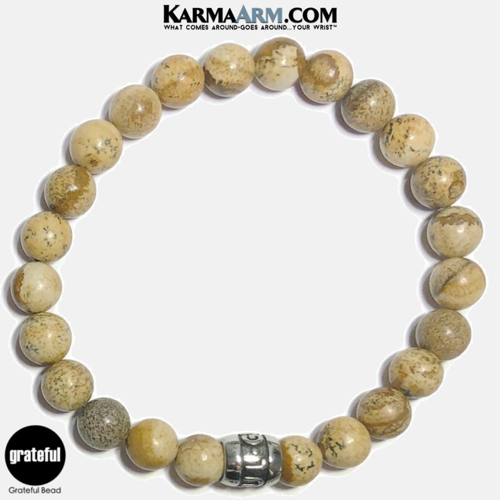 Grateful Meditation Mantra Yoga Bracelets. Self-Care Wellness Wristband Jewelry. Picture Jasper.