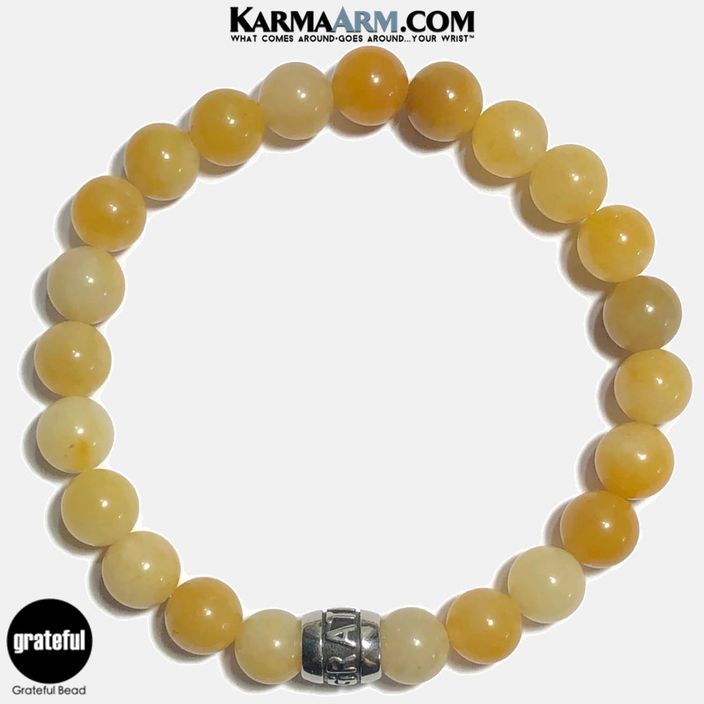 Grateful Meditation Mantra Yoga Bracelets. Self-Care Wellness Wristband Jewelry. Yellow Aventurine. copy 4
