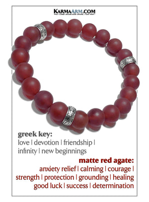 Greek Key Meditation Mantra Yoga Bracelet Mens Wristband Jewelry. Red Agate.