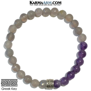 Greek Key Meditation Mantra Yoga Bracelets. Mens Wristband Jewelry. Amethyst Grey Agate.