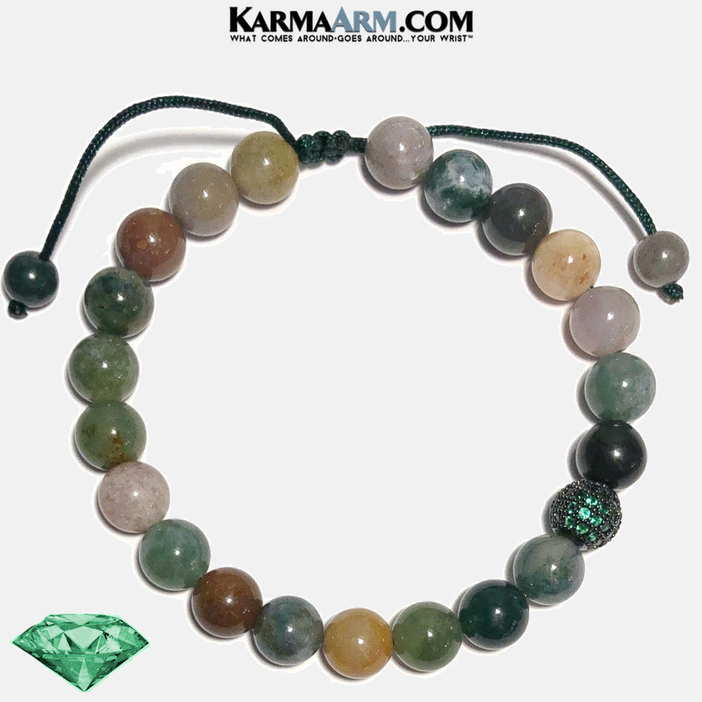 Emerald Green Diamond Wellness Self-Care Meditation Mantra Yoga Bracelets. Mens Wristband Jewelry. Indian Agate.  CZ Diamond Ball. copy