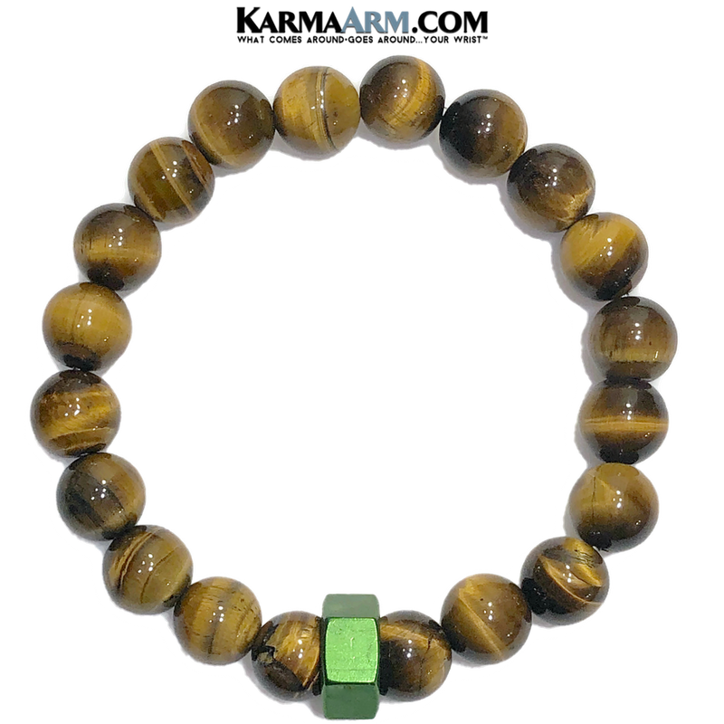 Green Hex Meditation Mantra Yoga Bracelets. Mens Wristband Self-care wellness Jewelry. Tiger Eye.