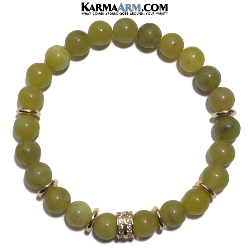Green Jade Yoga Bracelet. Meditation Self-Care Wellness Wristband Zen bead mala Jewelry.   Gold CZ Diamond.