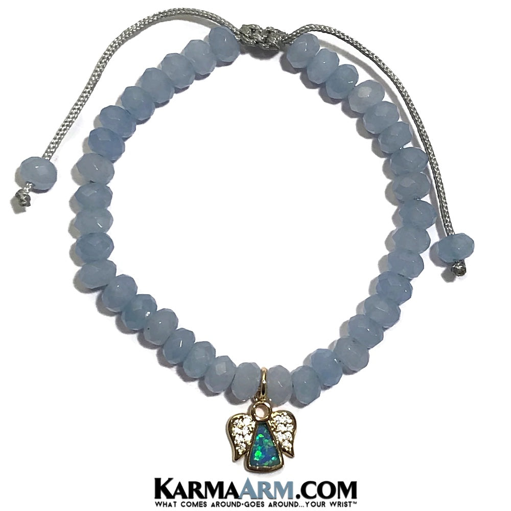Guardian Angel Bracelet. Aquamarine meditation jewelry.