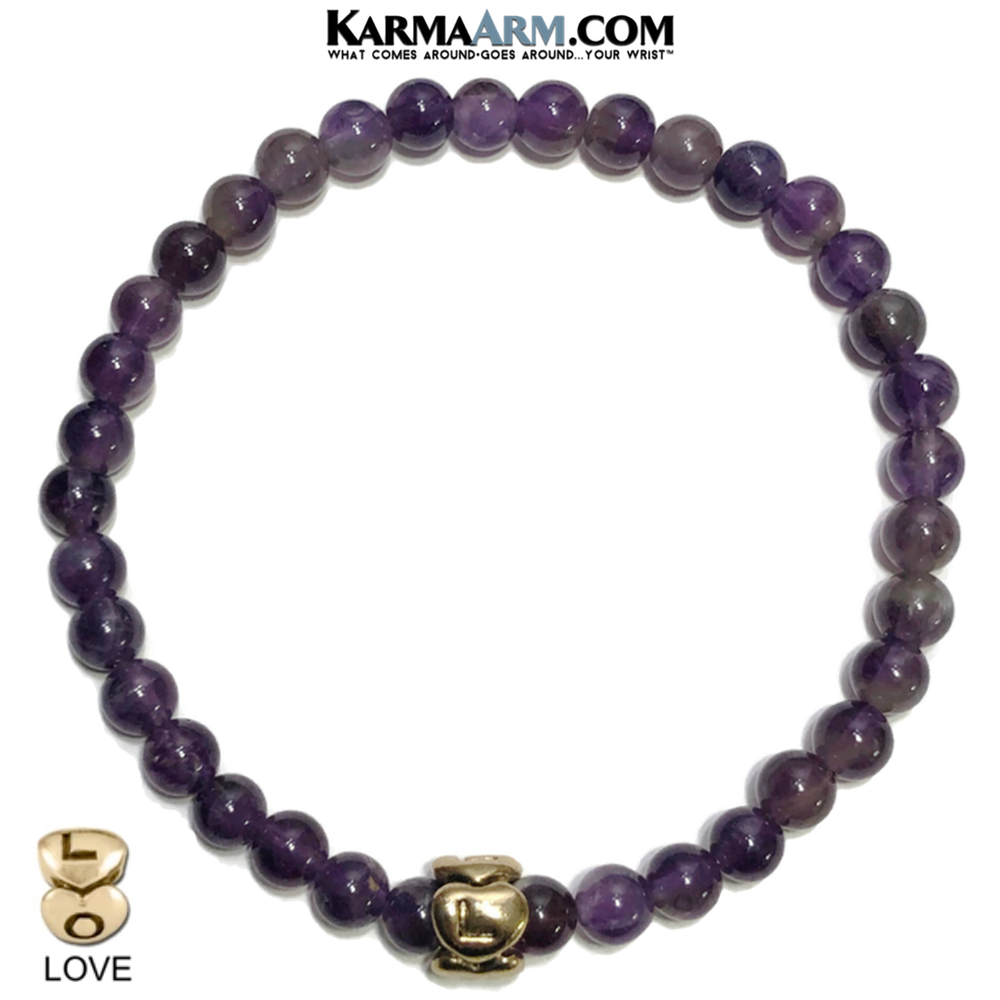 HEART LOVE Meditation Mantra Yoga Bracelets. Mens Wristband Jewelry. Amethyst. Gold.