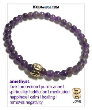 HEART LOVE Self-Care Meditation Mantra Yoga Bracelets. Mens Wristband Jewelry. Amethyst.