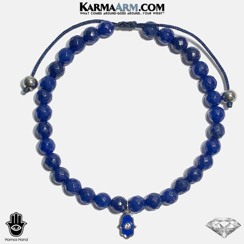 Hamsa Hand Evil Eye Meditation Mantra Yoga Bracelets. Mens Wristband Jewelry. Blue Jade. copy 2