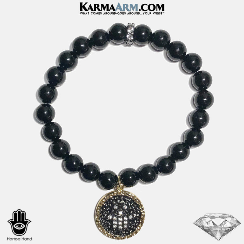 Hamsa Hand Evil Eye Meditation Yoga Bracelet. Mens Self-Care Wellness Wristband Jewelry. Black Onyx.