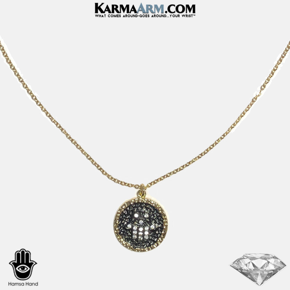 Necklace | PROTECTED | Black Onyx | Gold & Black Hamsa Hand | CZ Diamond Charm | Chain Necklace