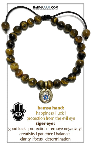 Hamsa Hand Charrm Meditation Mantra Yoga Bracelets. Mens Self-care wellness Wristband Jewelry. Tiger Eye.