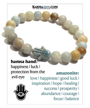 Evil Eye Hamsa Hand Meditation Self-Care Yoga Bracelets. Mens Wellness Wristband Jewelry. Amazonite.