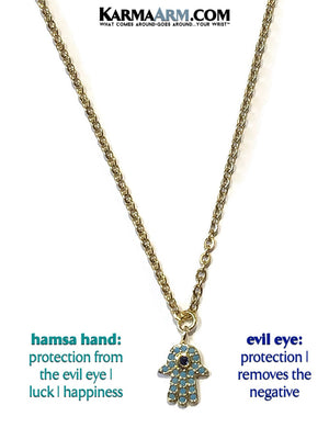 Hamsa Hand Evil Eye Necklace. Lucky Charm JuJu jewelry.  CZ Diamond Blue.
