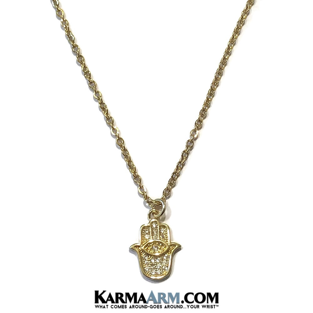 Hamsa Hand Evil Eye Necklace. Lucky Charm JuJu jewelry.  CZ Diamond Gold.