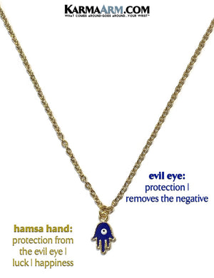Hamsa Hand Evil Eye Necklace. Lucky Charm JuJu jewelry.  Enamel.