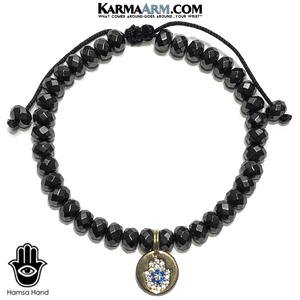 HAPPY GO LUCKY | Hematite | CZ Diamond Pave Hamsa Hand | Adjustable Pull Tie Bracelet