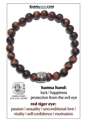 Hamsa Hand Meditation Mantra Yoga Bracelets. Mens Wristband Jewelry. Red Tiger Eye.