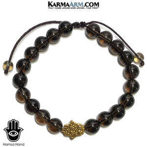 Hamsa Hand Meditation Mens Bracelet. Self-Care Wellness Wristband Yoga Jewelry. Smoky Quartz.