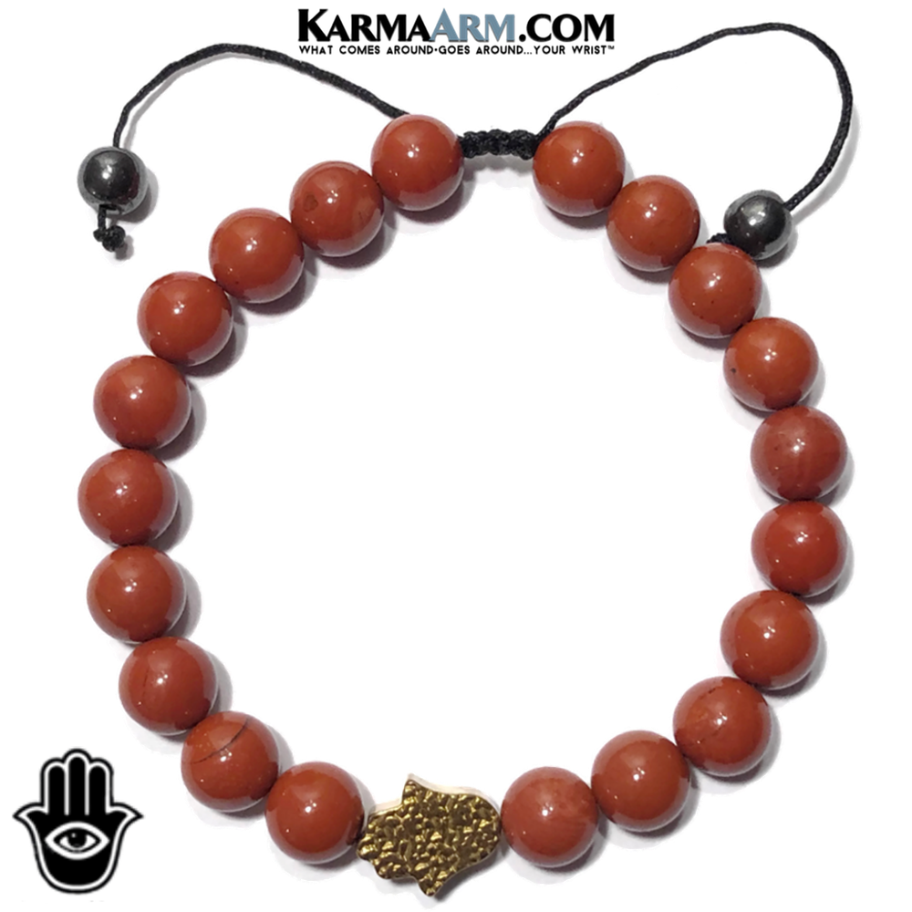 Hamsa Hand Meditation Mindfulness Yoga Bracelets. Self-Care Wellness Wristband Jewelry. Red Jasper.