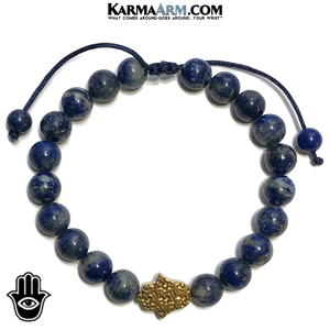 Hamsa Hand Wellness Meditation Mantra Yoga Bracelets. Mens Wristband Jewelry. Lapis.