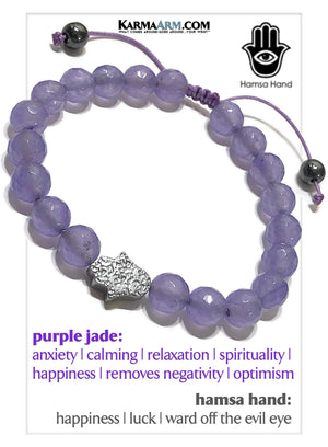 Hamsa Hand Meditation Mantra Yoga Bracelets. Mens Wristband Jewelry. Purple Jade.