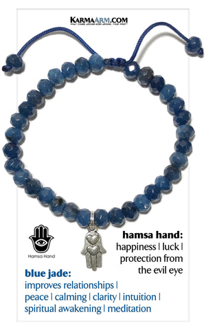 Hamsa Hand Meditation Mantra Yoga Bracelets. Mens Wristband Jewelry. Blue Jade.
