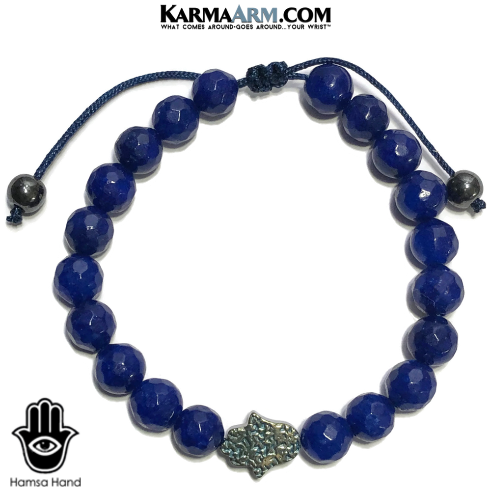 Hamsa Hand Wellness Self-Care Meditation Mantra Yoga Bracelets. Mens Wristband Jewelry. Hematite Blue Jade. Teal.