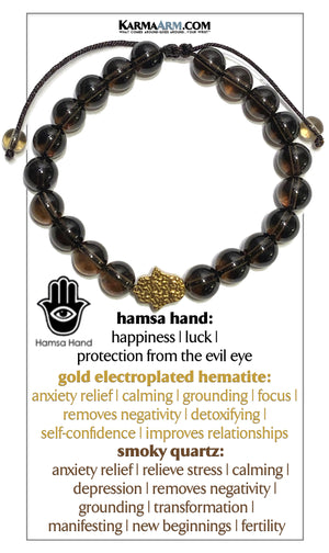 Hamsa Hand Yoga Bracelet . Mindfulness Meditation Mens Self-Care Wellness Wristband Bead Jewelry. Smoky Quartz.