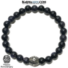 Happy Anniversary Meditation Mantra Yoga Bracelets. Mens Wristband Jewelry. Blue Goldstone.