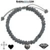 Heart Cross Charm Meditation Mantra Yoga Bracelets. Self-Care Wellness Wristband Jewelry. Grey Agate.