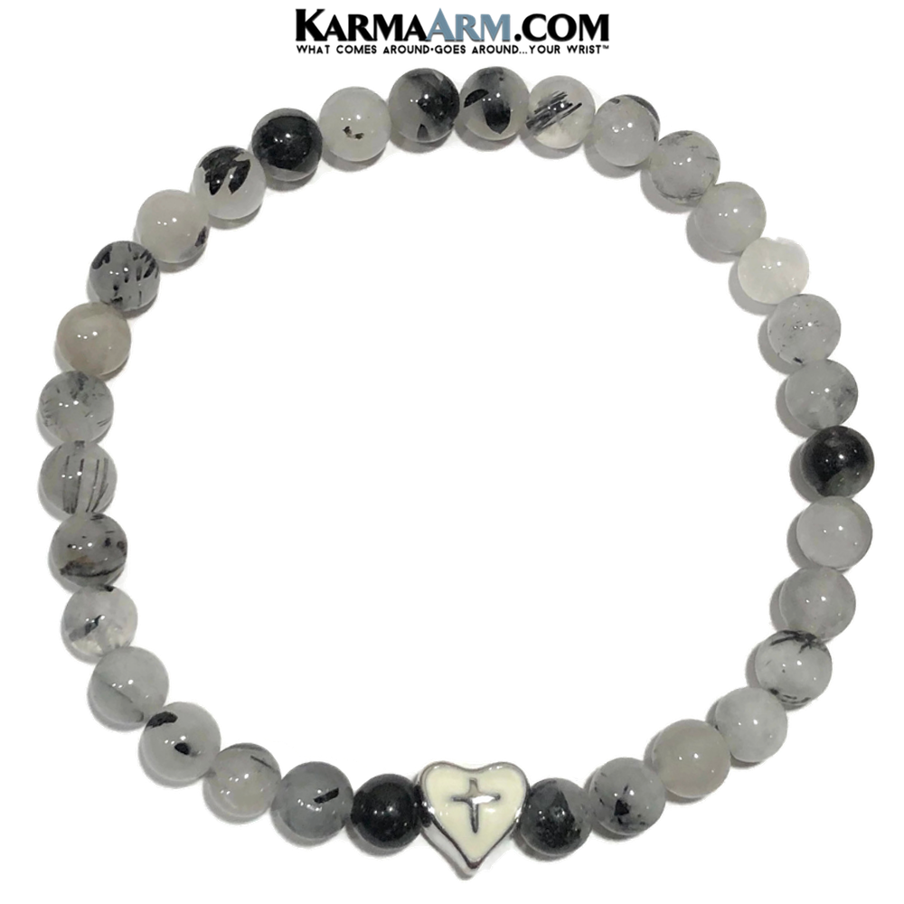 Heart Cross Meditation Mantra Yoga Bracelet. Self-Care Wellness Wristband Tourmaline Quartz.