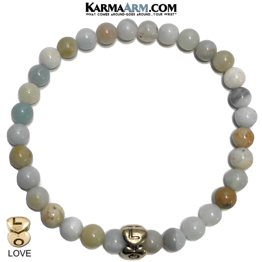 Heart Love Meditation Mantra Yoga Bracelets. Mens Wristband Jewelry. Amazonite.