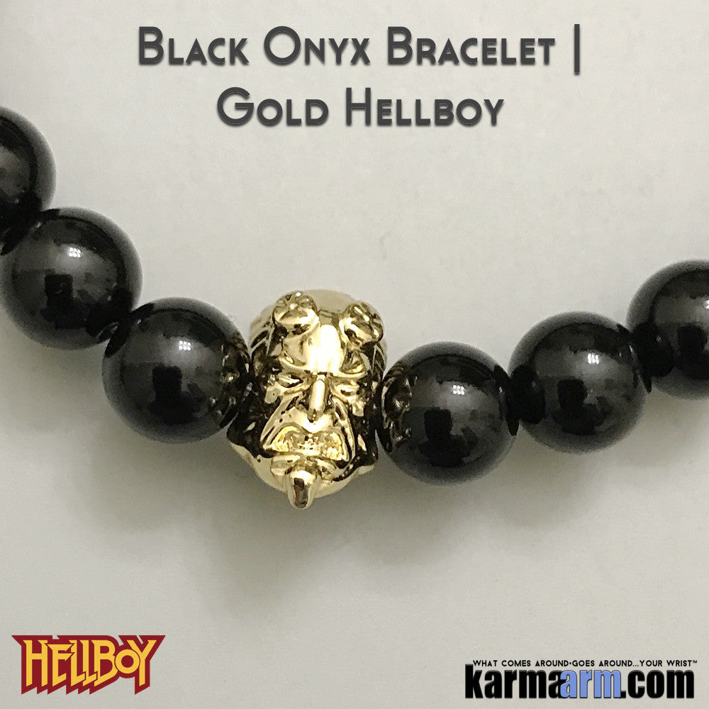 Hellboy Bracelets.  Fanboy Jewelry. ComiCon DC Comics Star Wars Yoga. Handmade Mens Bracelets. Gold.