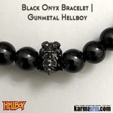 Hellboy Bracelets. Fanboy SuperHero Jewelry. ComiCon. Black Onyx Gunmetal.