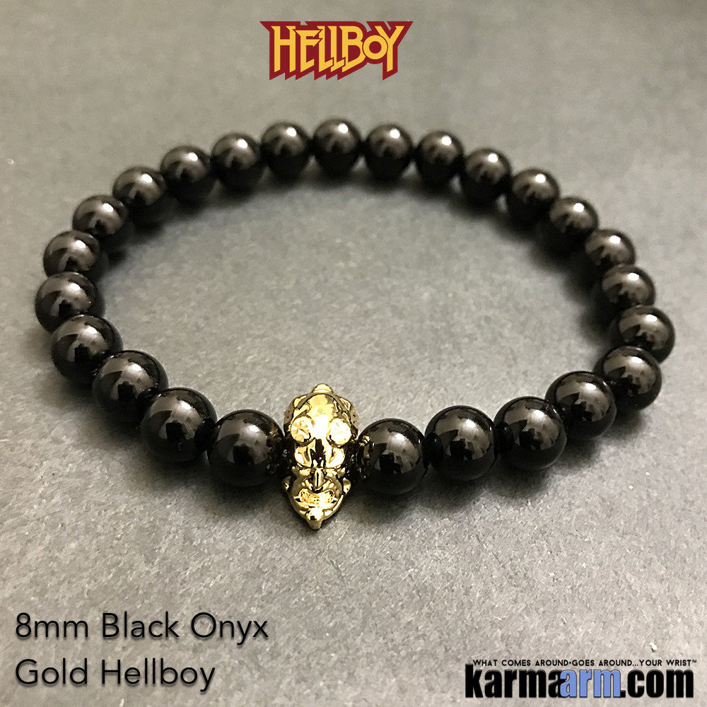 Hellboy Bracelets. Fanboy SuperHero Jewelry. ComiCon. Black Onyx Gold.