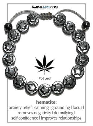 Hemp Pot Leaf CBD Meditation Mantra Yoga Bracelets. Mens Wristband Jewelry. Hematite.
