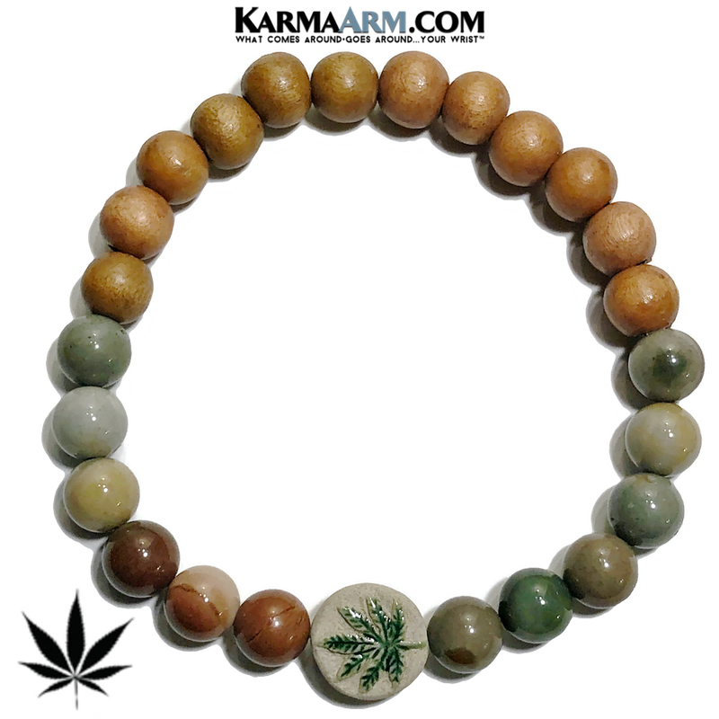 Hemp Pot Leaf Self-Care Meditation Wellness Yoga Bracelets. Mens Wristband Jewelry. Ocean Jasper.