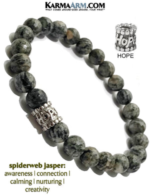 Hope Yoga Bracelets. Spiderweb Jasper meditation jewelry.