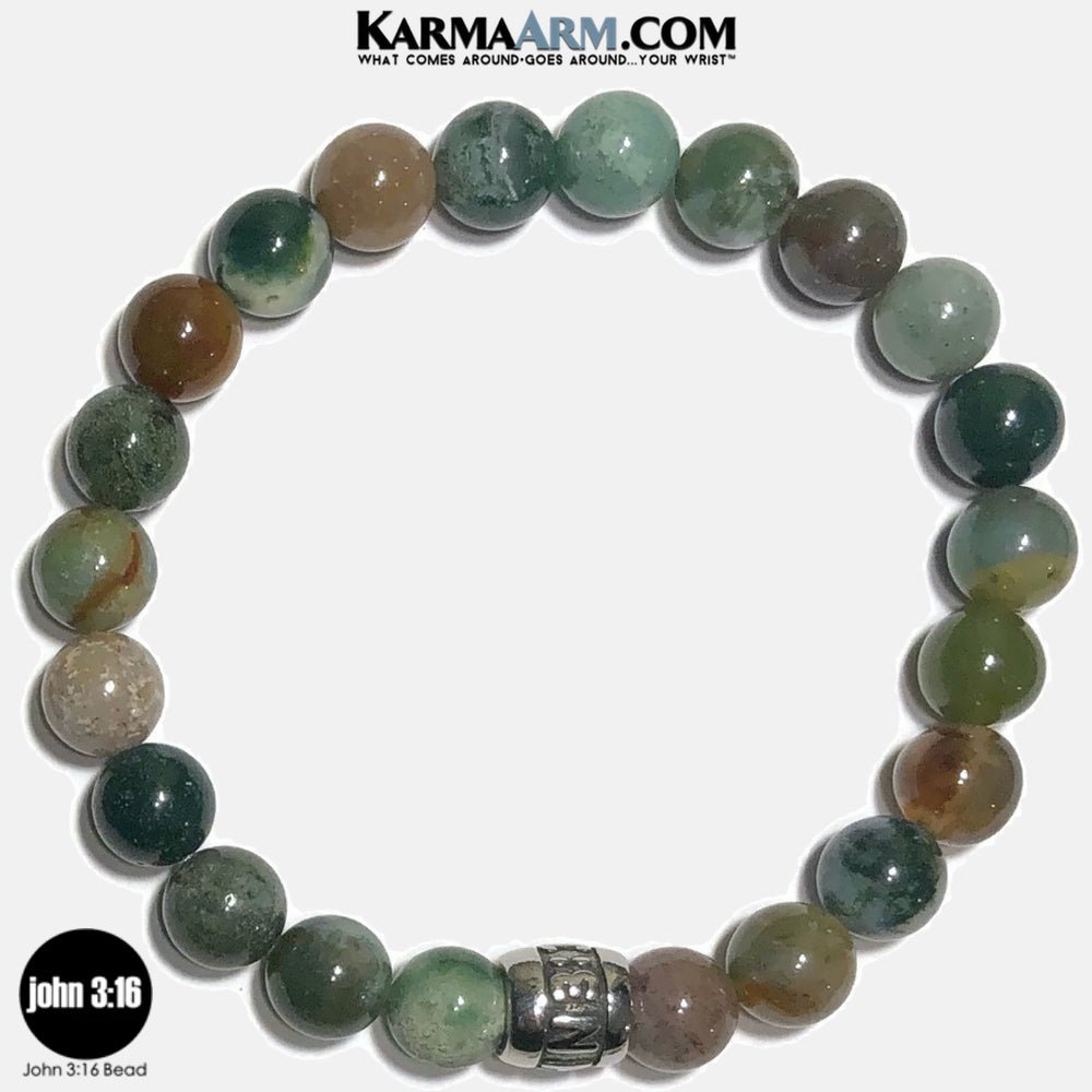 JOHN 3 16 Meditation Mantra Yoga Bracelets. Self-Care Wellness Wristband Jewelry. Indian Agate.