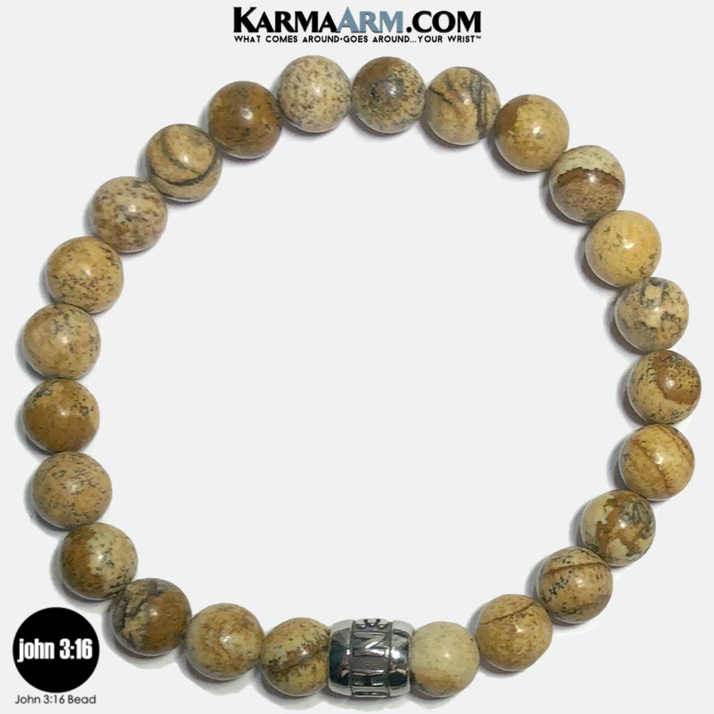 JOHN 3 16 Meditation Mantra Yoga Bracelets. Self-Care Wellness Wristband Jewelry. Picture Jasper.