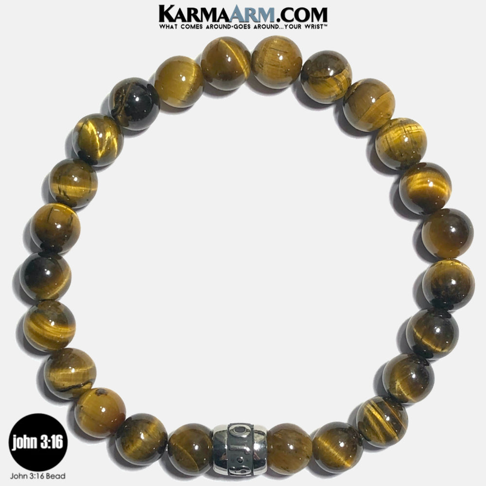 JOHN 3 16 Meditation Mantra Yoga Bracelets. Self-Care Wellness Wristband Jewelry. Tiger Eye.