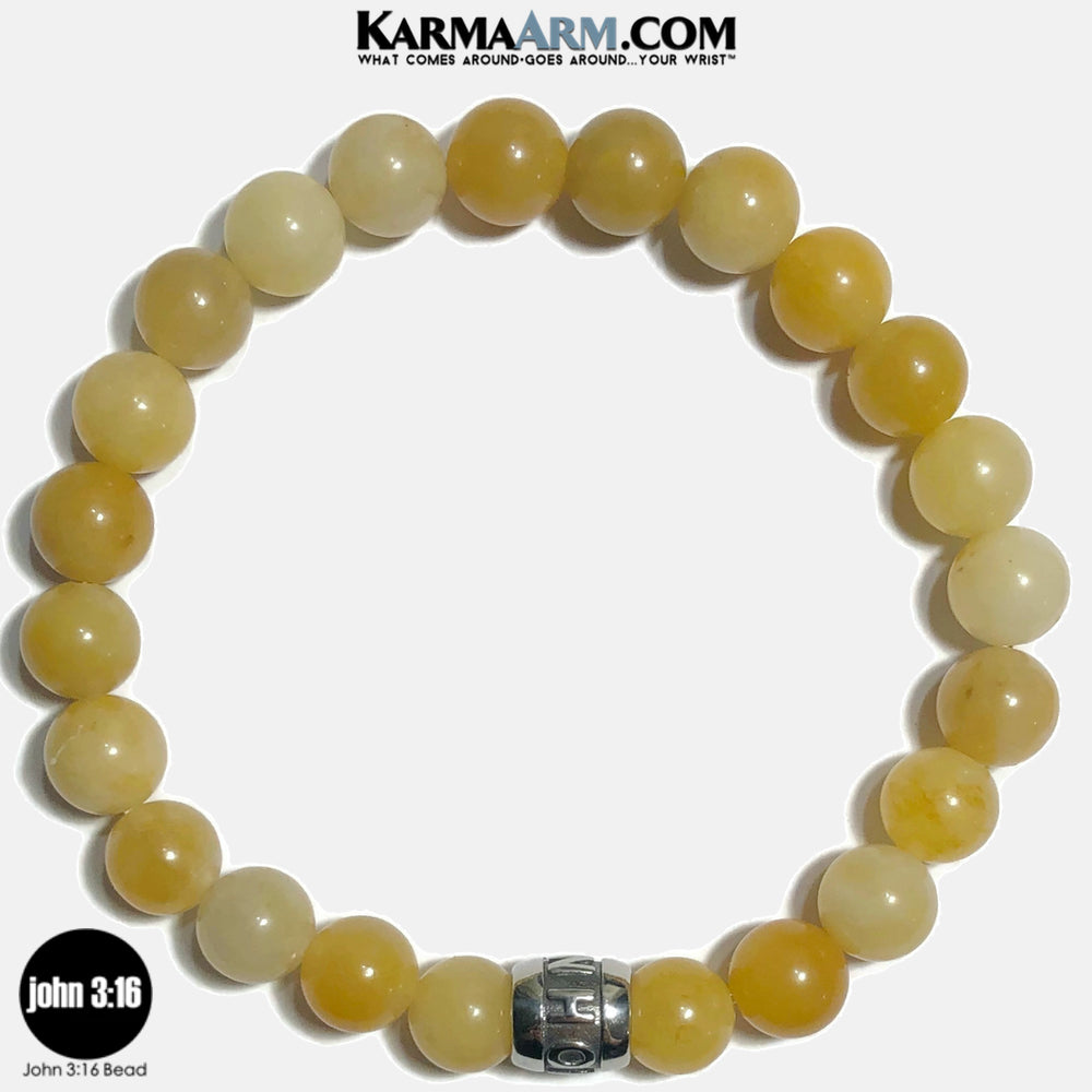 JOHN 3 16  Meditation Mantra Yoga Bracelets. Self Care Wellness Wristband Jewelry. Yellow Aventurine. copy 6