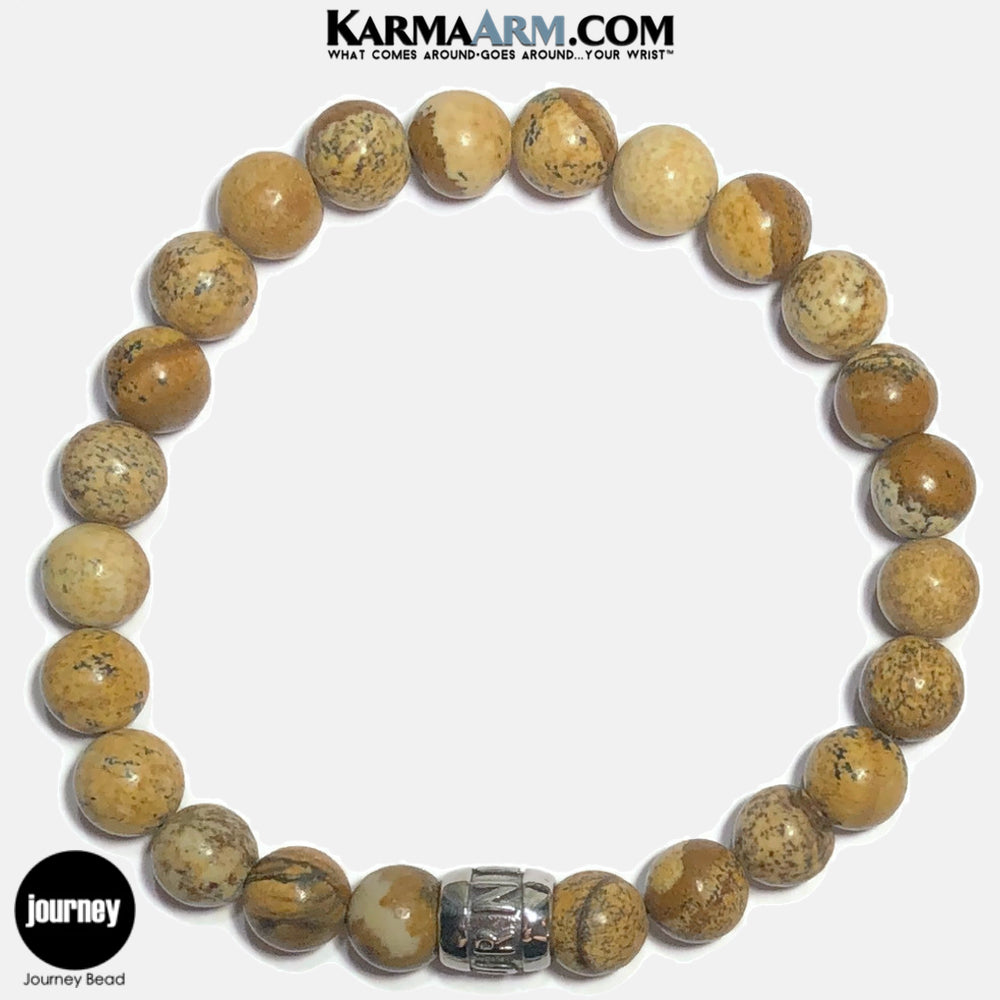 JOURNEY Meditation Mantra Yoga Bracelets. Self-Care Wellness Wristband Jewelry. Picture Jasper.
