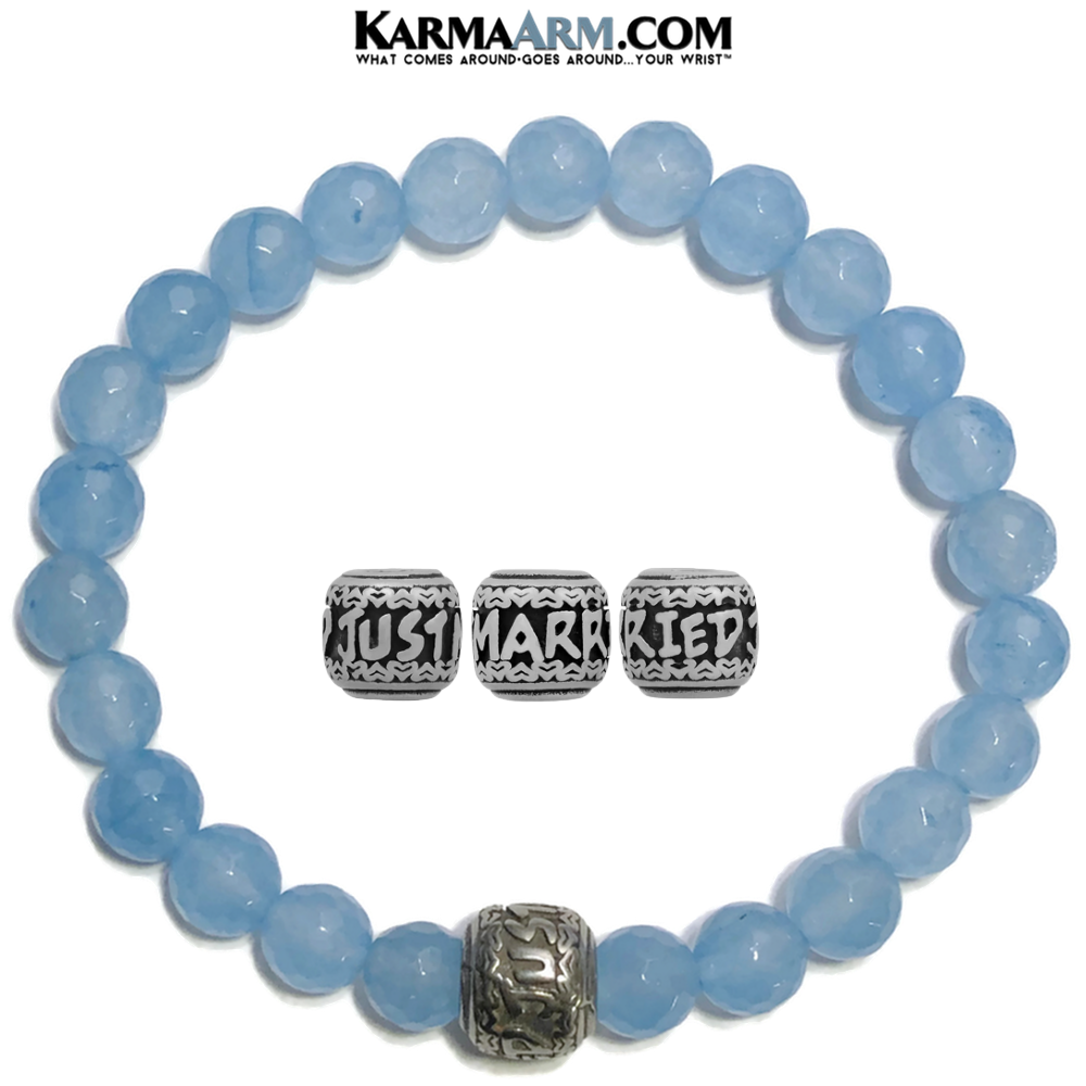 JUST MARRIED Meditation Mantra Yoga Bracelets. Mens Wristband Jewelry. Blue Jade.