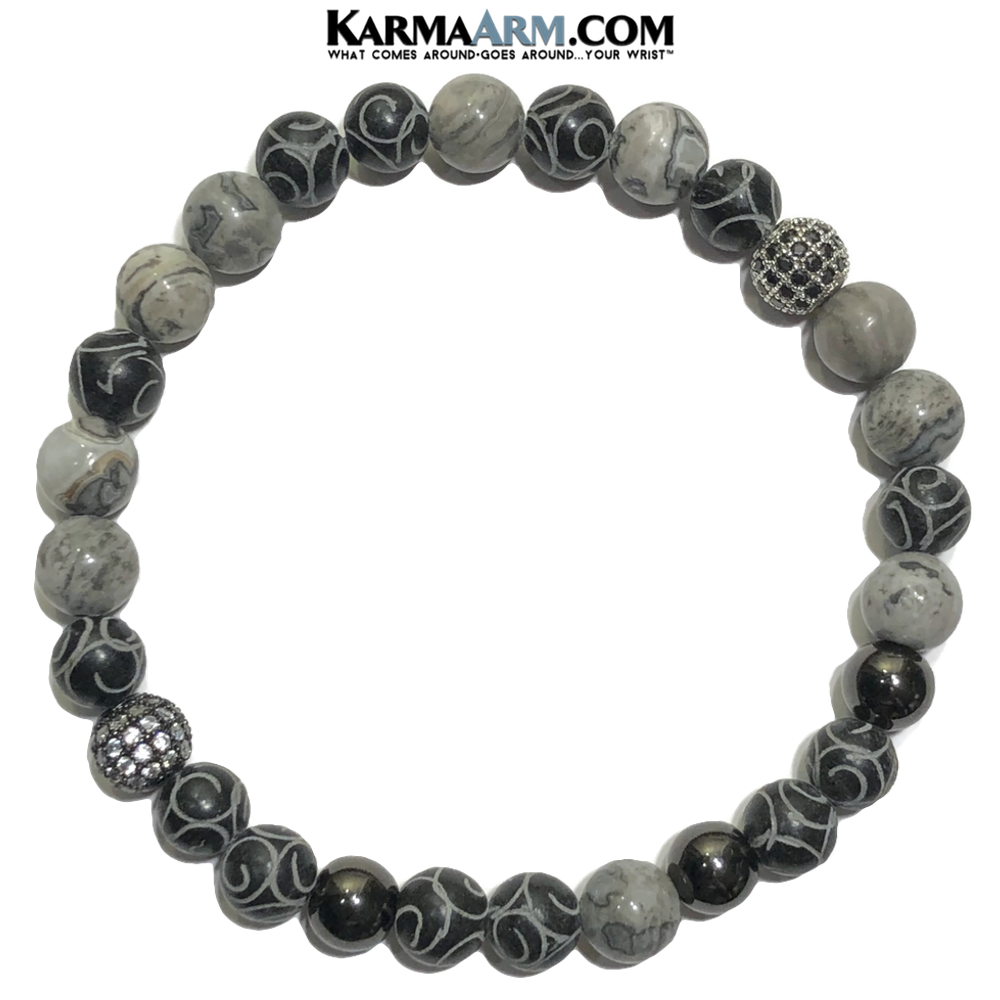 Jade Meditation Yoga Bracelet. Mens Self-Care Wellness Wristband Jewelry. Silver Crazy Lace.
