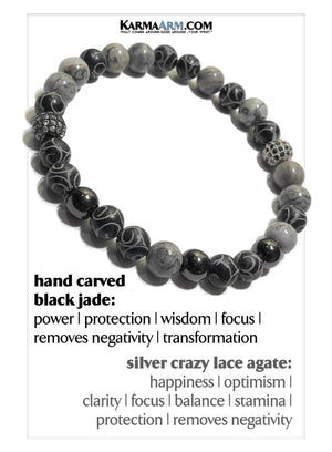 Jade Yoga Meditation bracelets. self-care wellness mens bead wristband jewelry. Crazy Lace.