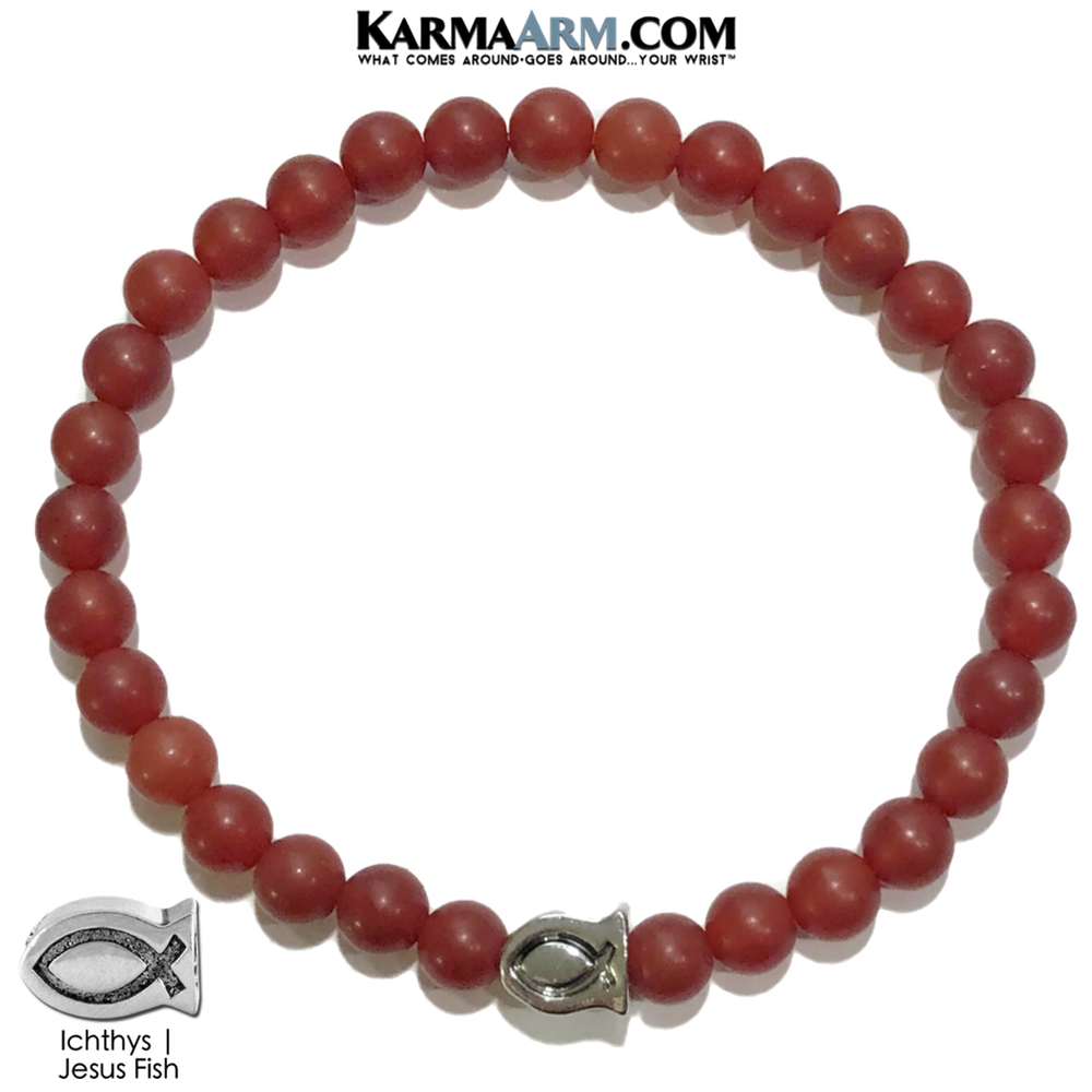 Jesus Fish Red Agate Meditation Mantra Yoga Bracelets. Self-Care Wellness Wristband Jewelry.
