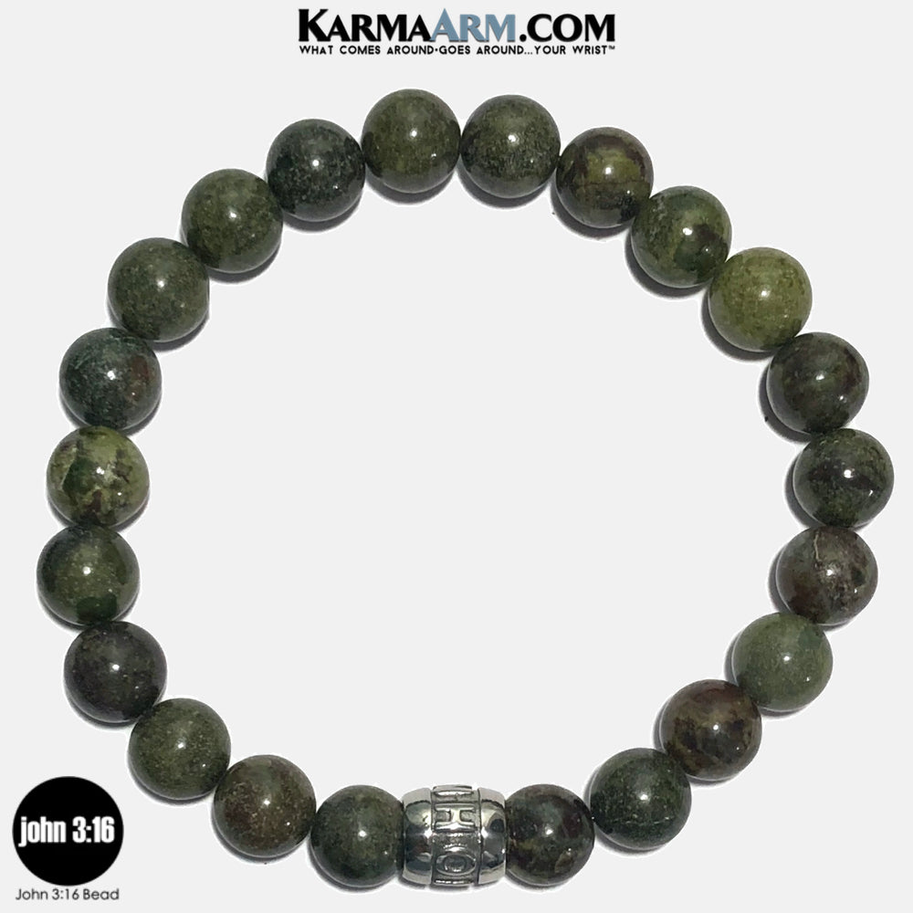 John 316 Meditation Mantra Yoga Bracelets. Self-Care Wellness Wristband Jewelry.  Dragon Bloodstone. copy