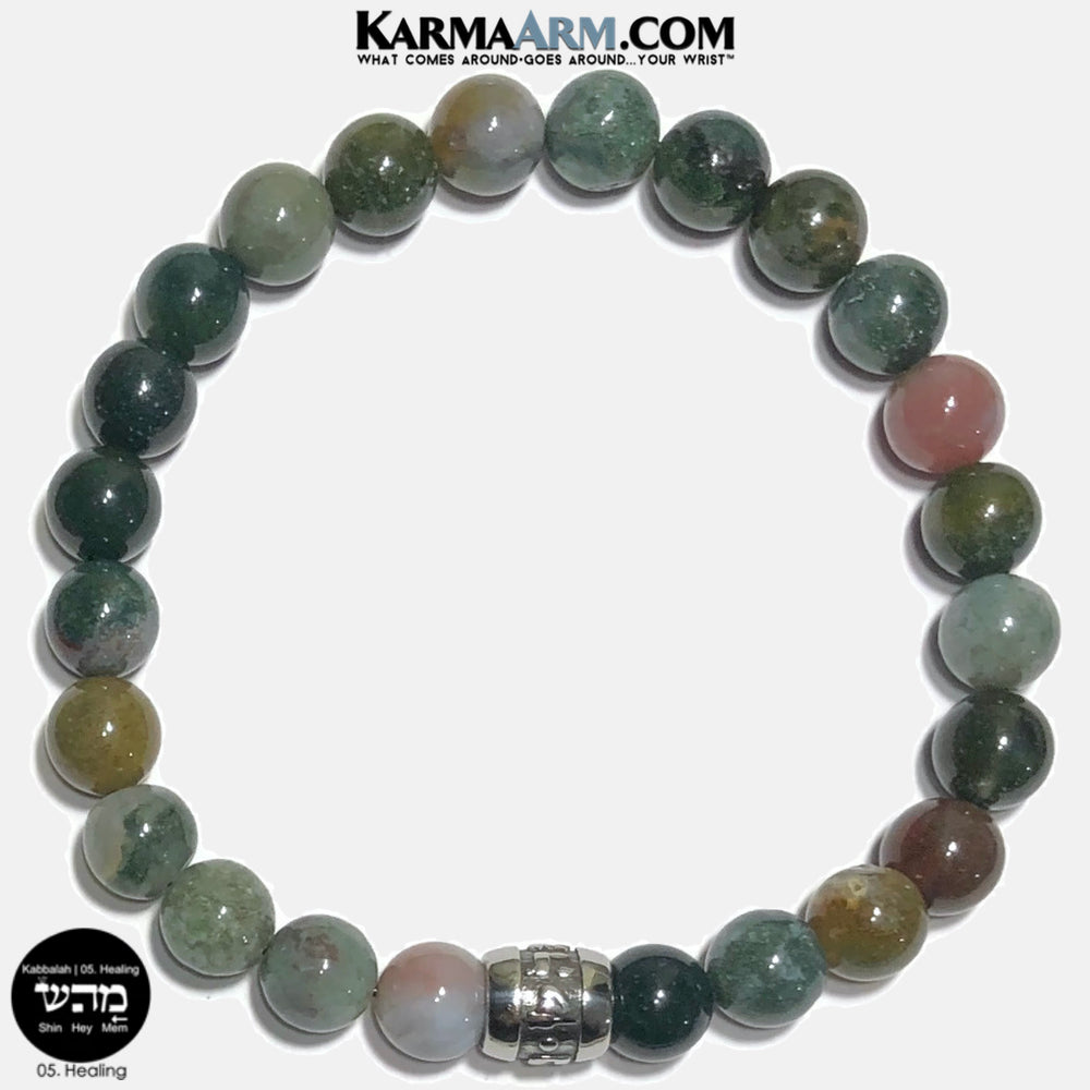 Kabbalah 05 Healing Mem Hey Shin Meditation Mantra Yoga Bracelets. Self Care Wellness Wristband Jewelry.  Indian Agate..